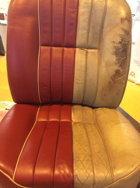 Leather seat before and after